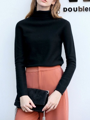 Casual Shift Long Sleeve Solid Turtleneck Sweater_5