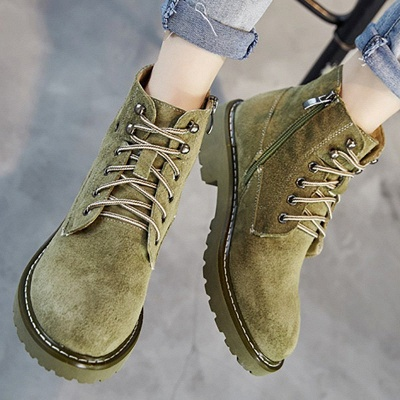 Leather Chunky Heel Lace-up Round Toe Boots_9