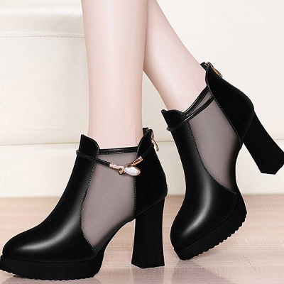 Daily Chunky Heel Buckle Pointed Toe Elegant Boots_2
