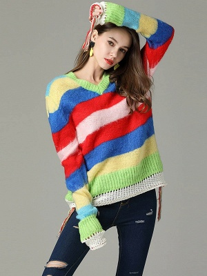 Multicolor V neck Cotton Long Sleeve Sweater_5