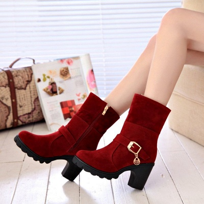 Fall Daily Suede Chunky Heel Round Toe Boot_5