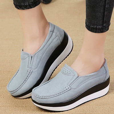 Wedge Heel Daily Round Toe Casual Loafers_4