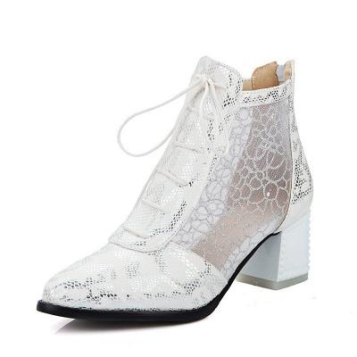 Zipper Chunky Heel Mesh Fabric Pointed Toe Boots_1