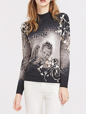 Black Casual Printed Long Sleeve Sweater_1