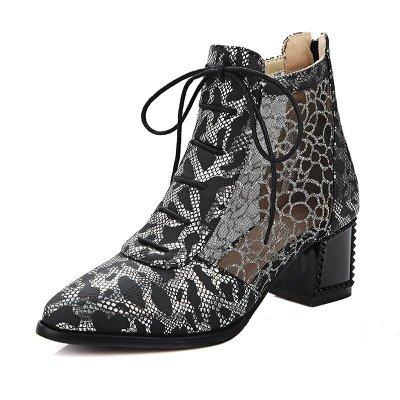 Zipper Chunky Heel Mesh Fabric Pointed Toe Boots_2