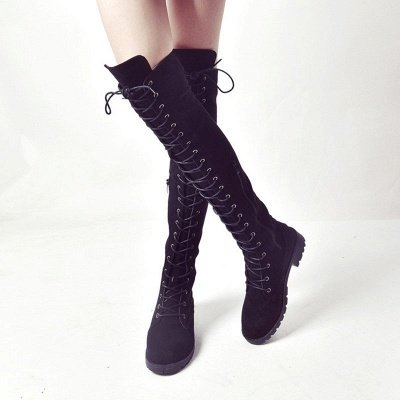 Lace-up Daily Chunky Heel Round Toe Suede Boot_9