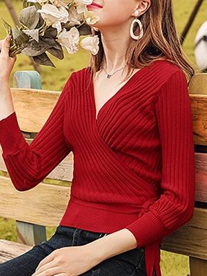 Casual Long Sleeve Shift V neck Sweater_12