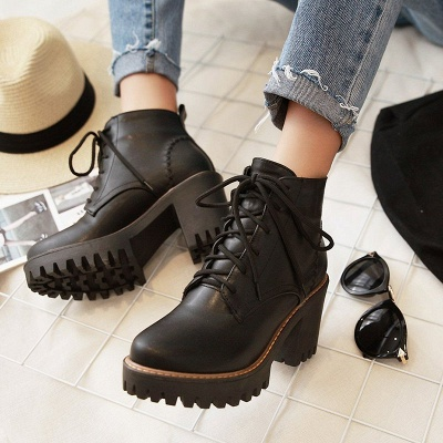 PU Lace-up Daily Round Toe Chunky Heel Boot_3