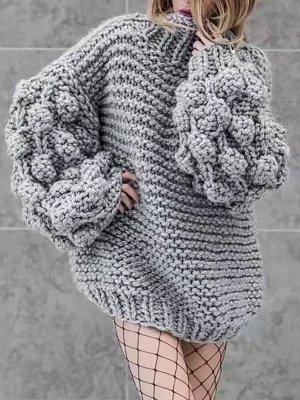 Cotton Casual Balloon Sleeve Sweater_5