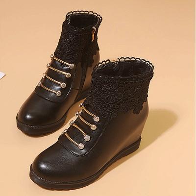 Zipper Daily Wedge Heel Round Toe Elegant Boots_8