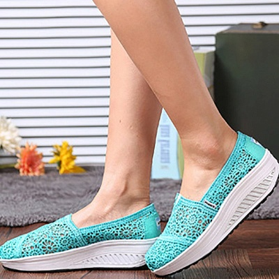 Lace Daily Breathable Fabrics Summer Round Toe Loafer Shoes_20