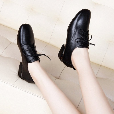 Chunky Heel Lace-up Pointed Toe Oxfords_7