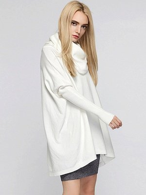 Casual Solid Long Sleeve Shift Sweater_1