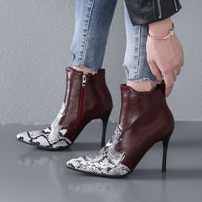Daily PU Zipper Pointed Toe Elegant Boots