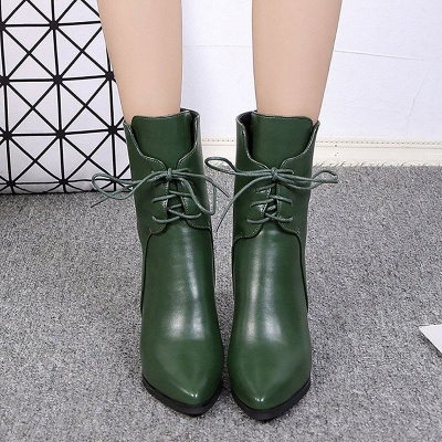 Lace-up Chunky Heel Daily Pointed Toe Elegant Boots_6
