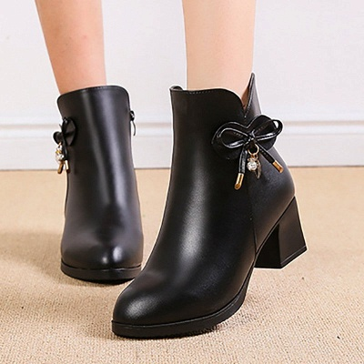 Bowknot Daily Chunky Heel Pointed Toe Zipper Elegant Boots_7