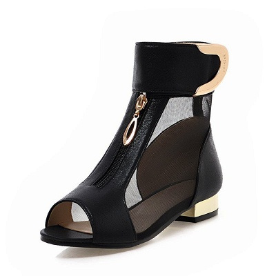 Mesh Hollow-out Peep Toe Summer Boots_9