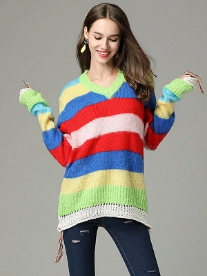 Multicolor V neck Cotton Long Sleeve Sweater_7