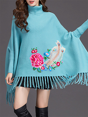 Batwing Elegant Floral Shift Sweaters_5
