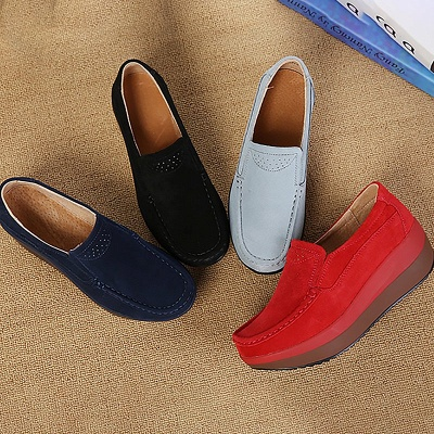 Wedge Heel Daily Round Toe Casual Loafers_9