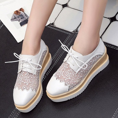 Mesh Lace-up Daily PU Pointed Toe Wedge Loafers_1