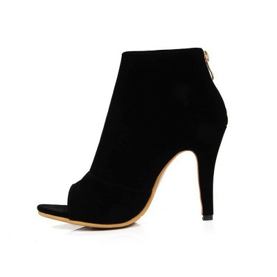 Suede Cone Heel Zipper Lace-up Peep Toe Boots_18