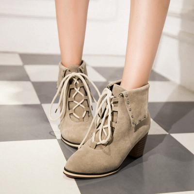 Chunky Heel Daily Rhinestone Pointed Toe Boots_2