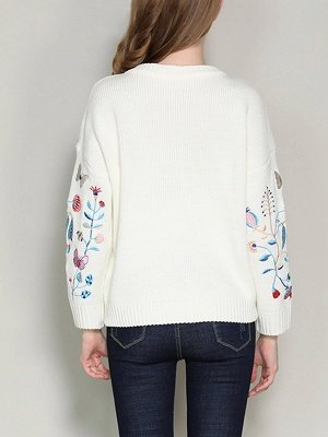 Long Sleeve Embroidered Casual Sweater_4