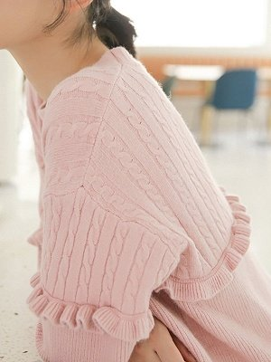 Crew Neck Casual Solid Long Sleeve Sweater_8
