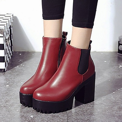 Daily Chunky Heel Round Toe Elegant Boots_5