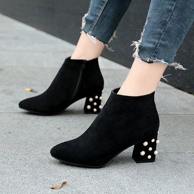 Suede Winter Chunky Heel Beading Pointed Toe Boot_3