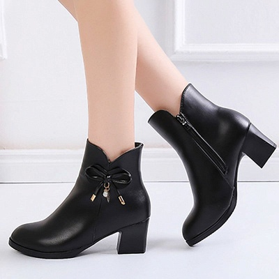 Bowknot Daily Chunky Heel Pointed Toe Zipper Elegant Boots_2