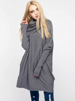 Casual Solid Long Sleeve Shift Sweater_9