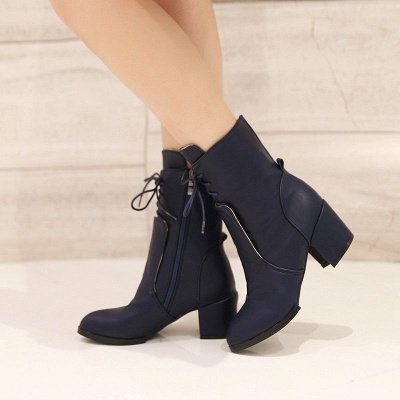 Chunky Heel Lace-up Working Pointed Toe Suede Boots_2