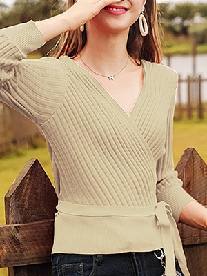 Casual Long Sleeve Shift V neck Sweater_5