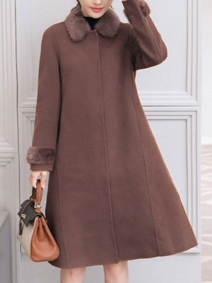 Casual Buttoned Long Sleeve Shirt Collar A-line Pockets Fluffy  Coat_1