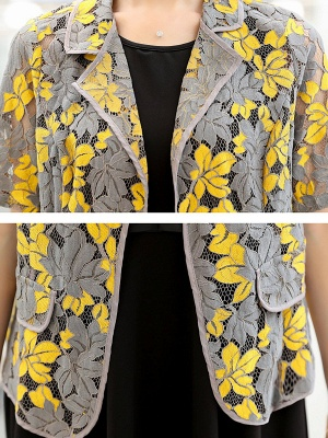 Yellow Short Sleeve Floral Guipure lace Coat_6