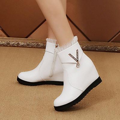 Rhinestone Round Toe Zipper Elegant Wedge Heel Boots_3
