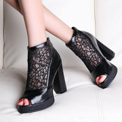 Hollow-out Daily Elegant Peep Toe Chunky Heel Boots_4