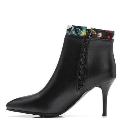 Zipper Daily Pointed Toe Elegant Stiletto Heel Boots_10