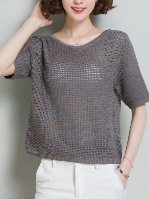 Casual Solid Crew Neck Half Sleeve Ice Yarn Knitted Sweater_3