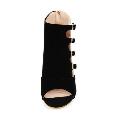 Suede Cone Heel Zipper Lace-up Peep Toe Boots_13