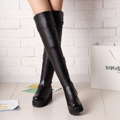 Women's Boots Wedge Heel Black Round Toe Boots_3