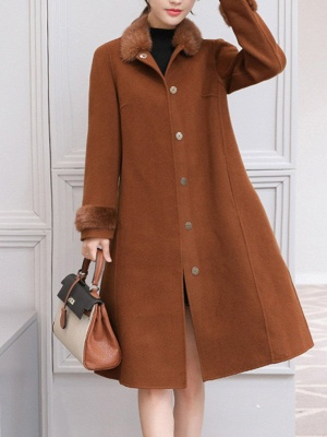 Casual Buttoned Long Sleeve Shirt Collar A-line Pockets Fluffy  Coat_3