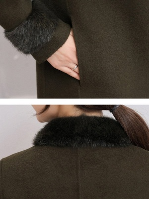 Casual Buttoned Long Sleeve Shirt Collar A-line Pockets Fluffy  Coat_9