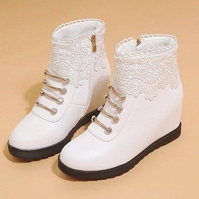 Zipper Daily Wedge Heel Round Toe Elegant Boots_9