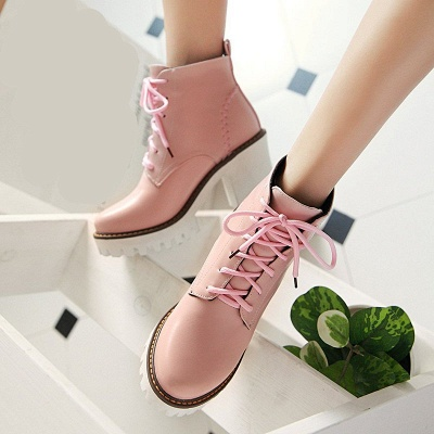 PU Lace-up Daily Round Toe Chunky Heel Boot_1
