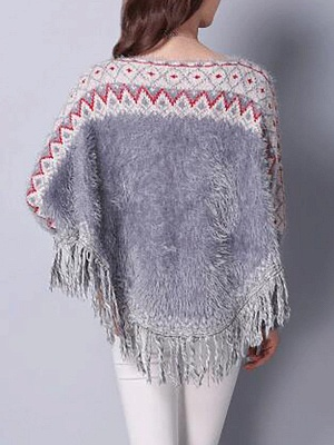 Casual Batwing Fringed Sweater_5