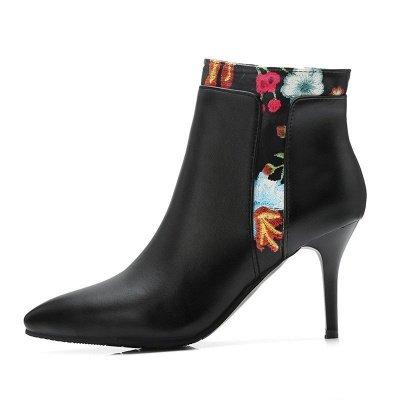 Zipper Daily Pointed Toe Elegant Stiletto Heel Boots_9
