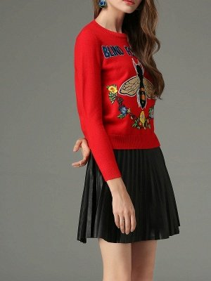 Red Animal Long Sleeve Knitted Embroidered Sweater_4